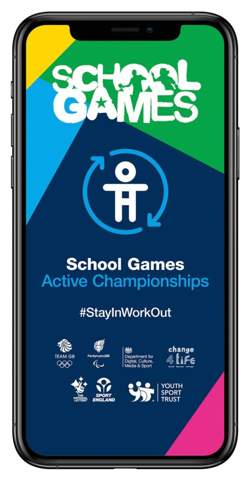 Phone showing the School Games Active Championship app